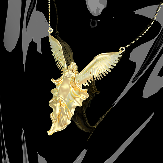 Angel the Wind Pendant Jewelry Gold 3D print model