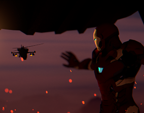 Ironman Helicopter Scene 3D asset