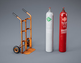 Gas Cylinder with Trolley - PBR Game Ready 3D asset