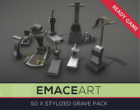 Low Poly Grave Kit with LODs 3D asset