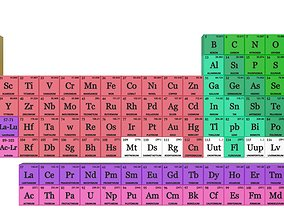 3D model Full periodic table for motion graphics