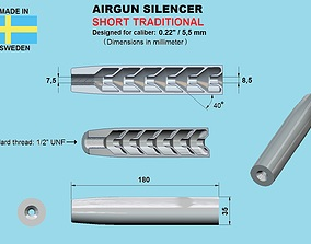 SHORTENED VERSION Air gun silencer 3D printable model 1