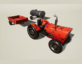 Stylized tractor with trailers 3D model