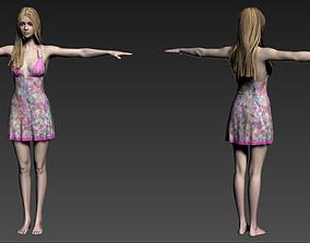 3D asset girl in a dress