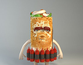 3D asset Kebab Food creatures series