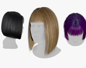 Hair Constructor - Short Hairstyles with Bangs 3D asset