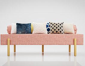 Sofa Athena Makeshift Bed Orange Fabric 3D asset