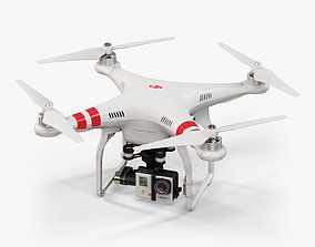 DJI Phantom 2 Quadcopter with GoPro HERO3 3D asset