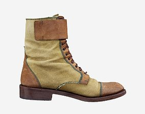 Green and Brown Leather Boots Walking Hiking 3D model