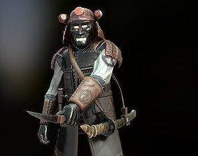 3D model animated Ainy samurai