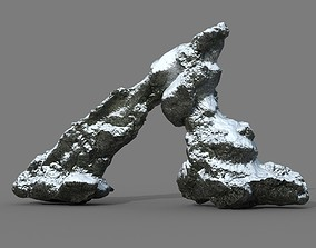 Low poly Snow Rock 05-190426 3D model