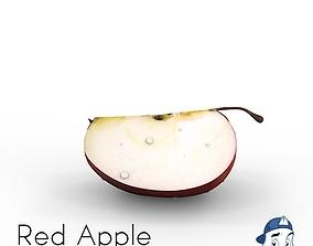 3D Red Apple Quarters