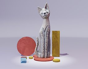 3D model The cat ethnic statuette 02