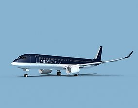 3D model Airbus A220-300 Midwest Jet