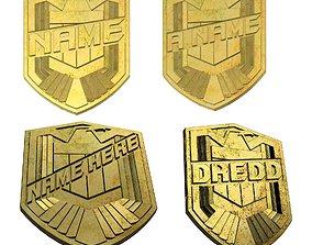 prop 3D print model Dredd DIY Name Badge