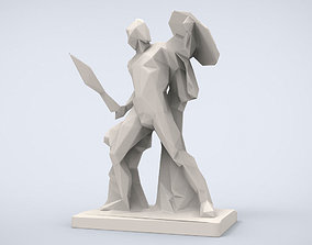 Printable Achilles Statue Lowpoly Style
