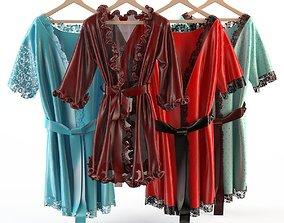 Set of womens silk robes 2 3D model