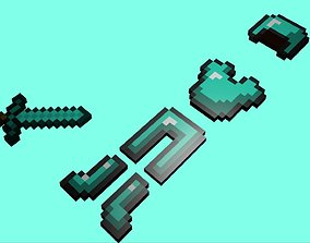3D model minecraft diamond warior items
