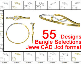 55 bangle designs collection for jewelry 3D print model 3