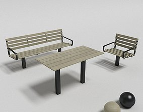botan outside table sofa and chair 3D model