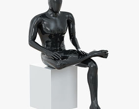 Abstract male mannequin sitting 05 3D