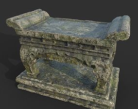 3D asset Low poly Ruin Mossy Temple Altar 08 190318