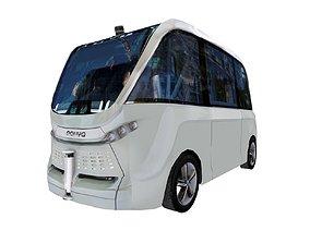 3D asset Driverless shuttle bus Navya Arma low polygon