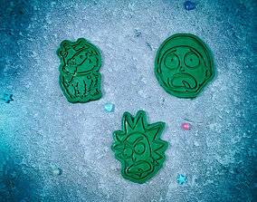 Rick and Morty Cookie Cutter Set of 3 3D print model