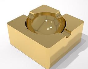 3D model gold ashtray