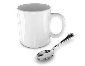 3D model Promotional Mug And Spoon Realistic