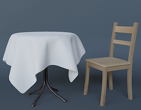 3D model low-poly Table and chair house