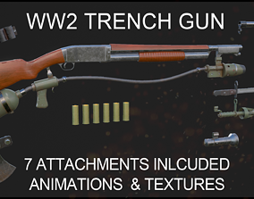 Trench Gun with Animations and Attachments 3D asset