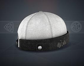 White Jeans Brimless Cap 3D asset