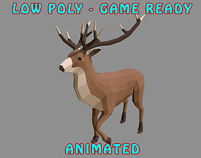 animated Low Poly Stag 3D Model - Animated