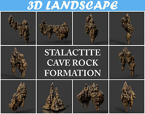 Low poly Stalactite Cave Rock Modular Pack C 2020 3D model