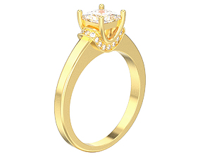 solitaire ring with one princess stone 3D print model 3