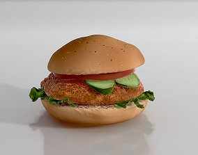 3D PBR Chicken Burger with Vegetables