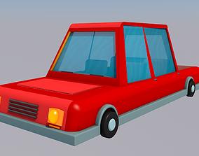 plastic Cartoon car 3D model low-poly