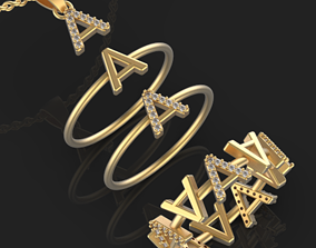 Collection A Alphabet ring 3D printable model