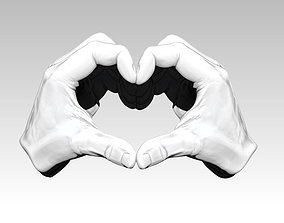 Peace Love Hand gesture sing 3D print model