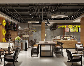 Modern restaurant interior 3D food
