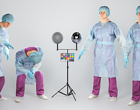 3D asset Animated surgical doctor in sterile gloves and 1