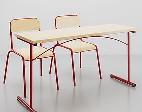 Atlas 2 school chair and table 3D model