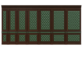 3D model classic Wood panel with leather 017