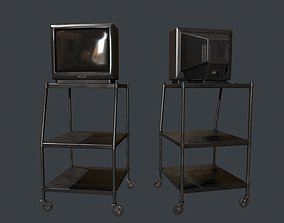 TV on Roll-out Cart 3D asset