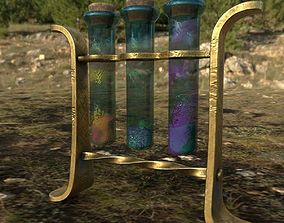 glass tubes with substances PBR low poly 3D asset
