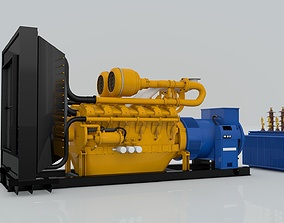 Diesel Engine and Generator and Transformer 3D model