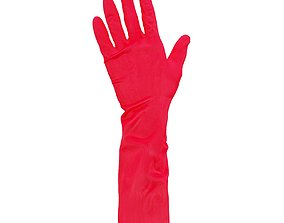 Elbow Length Latex Gloves 3D model