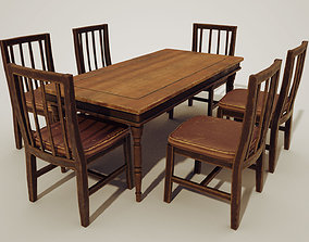 3D asset Wood table and chair sets