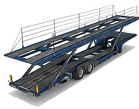 Car transporter trailer 3D model realtime